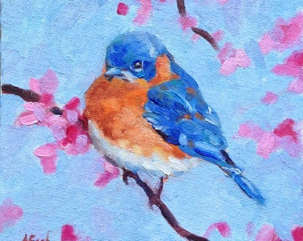Bluebird with Cherry Blossoms - Original Oil Painting - 6x6 inches