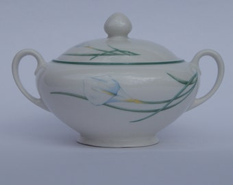 Vintage Porcelain Sugar Bowl, From England/ Retro Home Decor, White Sugar Bowl