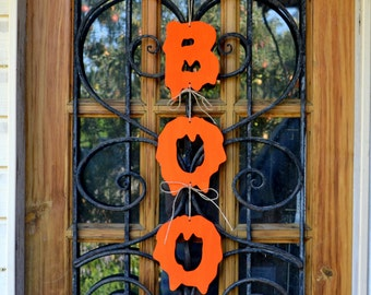 BOO Halloween decor rustic decoration pumpkin orange Halloween decorations