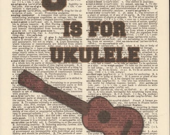U is for Ukulele Vintage Upcycled Book Page Dictionary Art Print Mixed Media