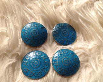 4 Antique Vintage Edwardian Blue Enamel Enamelled Buttons