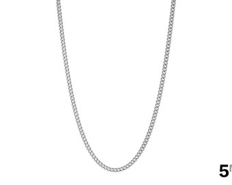 316L Stainless Steel 5mm Curb Chain Necklace - Choose from 18 to 40 inches - Women's Necklace - Men's Chain - FAST & FREE Shipping