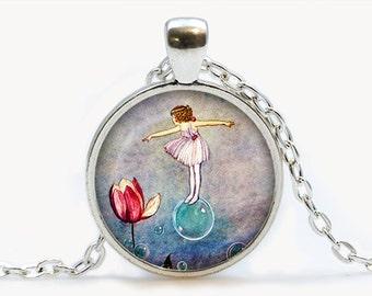 Thumbelina Fairy art Pendant. Thumbelina Necklace. Fairytale jewelry. Birthday gift