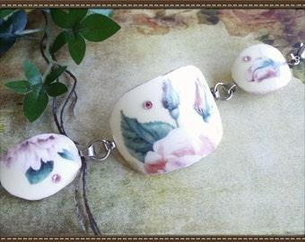 Handmade broken china roses bracelet