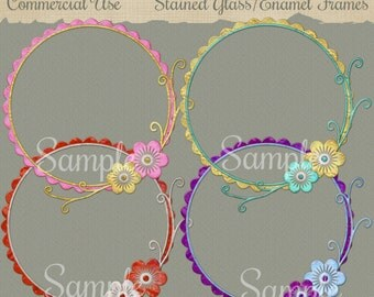 Diugital Scrap Png Stained Glass/Enamel Frames 9x10 Png Digital Printable File Commercial Use