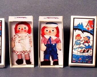 Raggedy Ann and Raggedy Andy Doll Box Set -  Dollhouse Miniature - 1:12 scale - Dollhouse Accessory - Dollhouse Raggedy girl boy nursery toy