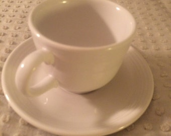 Fiestaware White Coffee Cup and Saucer Set