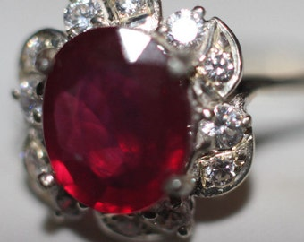 Handmade Genuine Ruby Ring in Sterling Silver Blood Red Color 3 CT Plus! size7