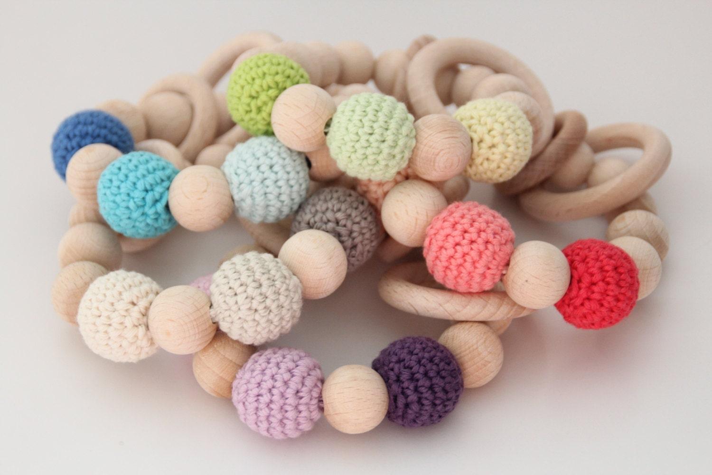 Organic Baby Toys : Blue organic baby teething toy bracelet crochet