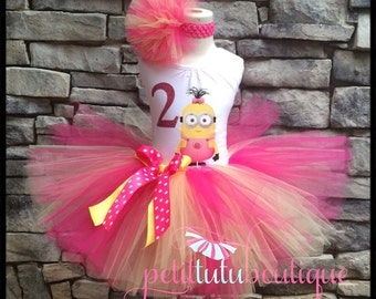 Pink Girl Minion Costume or Birthday Tutu set sizes 12m to 10/12y Free Personalization