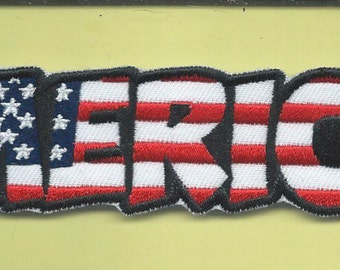 New 1 1/2 x 4 3/4 Inch Funny 'Merica Biker Iron on Patch Free Shipping