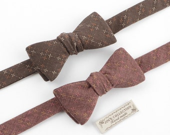 Cross stitches decorated adjustable self-tie bowtie available in 2 colours, brown bowtie, maroon bowtie, pattern bowtie, mens bowties