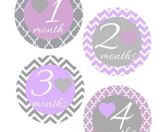 Baby Month Stickers, Purple and Gray, Monthly Stickers, Monthly Baby Sticker, Baby Shower Gifts, Baby Month Sticker Girl, G70