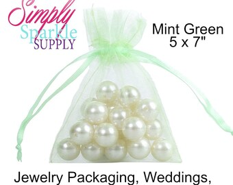 50 Mint Green Organza Bags, 5 x 7 Inch Sheer Fabric Favor Bags Jewerly Packaging Chunky Necklace supply