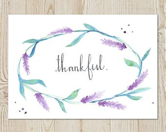 Thankful Lavender Watercolour Painting Instant Download Printable