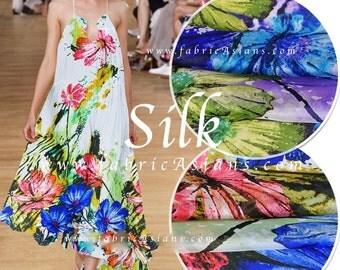 Boho Fabric. Hippie Dress Fabric. Floral Chiffon. Crepe de Soie