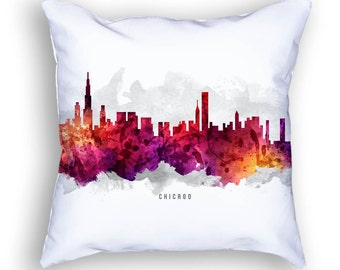 Chicago Pillow, 18x18, Chicago Skyline, Chicago Cityscape, Chicago Throw Pillow, Cushion, Home Decor, Gift Idea, Pillow Case 14