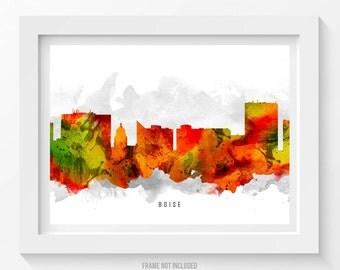 Boise Idaho Skyline Poster, Boise Cityscape, Boise Print, Boise Wall Art, Boise Decor, Home Decor, Gift Idea, USIDBO15P