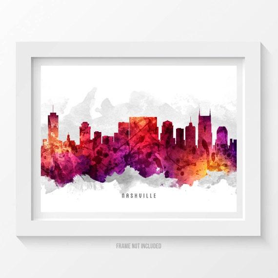 Nashville tennessee skyline poster nashville cityscape for Home decor nashville tn