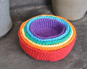 Rainbow Crochet Nesting Bowls - A Waldorf and Montessori Baby Toy