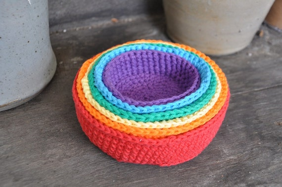 Free Crochet Pattern Newborn Nesting Bowl : Rainbow Crochet Nesting Bowls A Waldorf and Montessori Baby