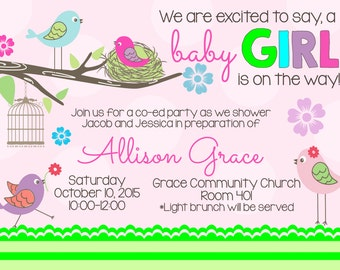 Pink Little Birds-Baby Shower Invitation -matching Thank you & Diaper Raffle included - Bright colors - Summery - Summer invitation - Birdie