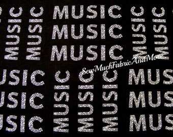The Word MUSIC fabric-Let There Be Music-Windham~Whistler Studios~by 1/2 yd~38990-1