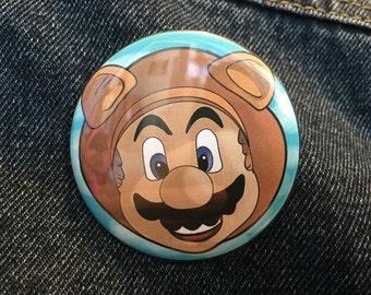 Mario - Tanooki Suit - Pinback Button 2-1/4 Inch