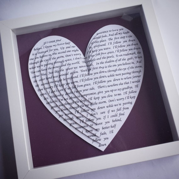 Song Lyric Hearts Framed Vows Wedding First Dance