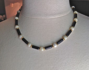 NECKLACES, Black Obsidian tubes, round White Marble beads, Carnelian and white Italian marble round beads, gold findings