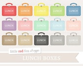 Lunch Box Clipart, Lunchbox Clip Art Vintage School Lunchboxes Teacher Class Classroom Cute Digital Graphic Design Small Commercial Use