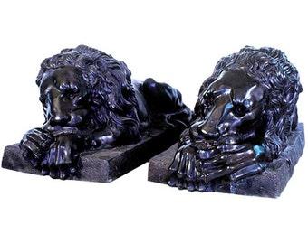 68.9181 Pair of Life-Size Cast Bronze Lions