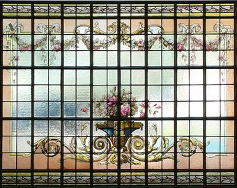 74.6584 Hand Painted & Stained Glass Window of Urn With Flowers