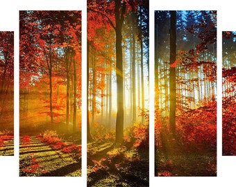 Red Leaves in the Morning Light Canvas Wall Art Set of 5 Home and Kitchen Decor