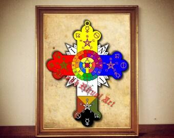 147# Rosicrucian rose print, rose poster, cross print, cross poster, rosicrucian decor, occult print, occult poster, magic illustration