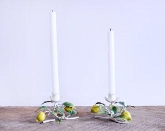 Pair of Vintage Italian Toleware (Metal) Candle Holders