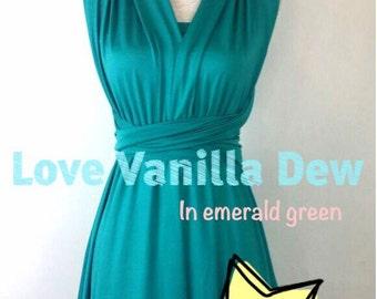 Junior Bridesmaid Dress Infinity Dress Emerald Green Convertible Dress Multiway Wrap Dress