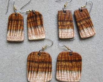 Curly KOA Exotic Wood Earrings 3 CHOICES ExoticWoodJewelryAnd Ecofriendly repurposed
