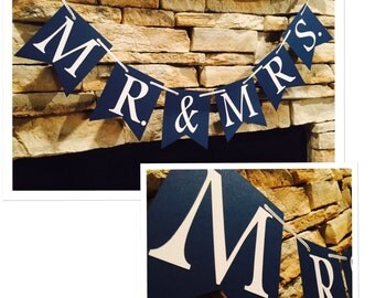 MR & MRS wedding banner, wedding decor, navy banner, wedding party decor, photo booth back drop, picture wedding banner