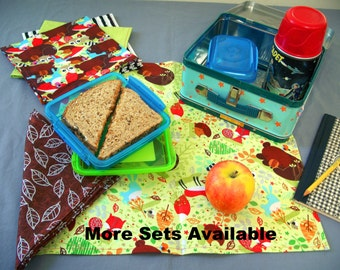 School Lunch Cloth Napkins, Set of 5, Choose Your Colors, Eco Friendly, Paperless, No Waste