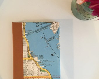 New York City map journal, Leather Binding, Medium, Lined