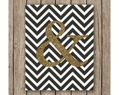 Gold Ampersand and Chevron Design printable wall art instant download, Print Wall Art, Wedding Decor, Bedroom Decor, Nursery art