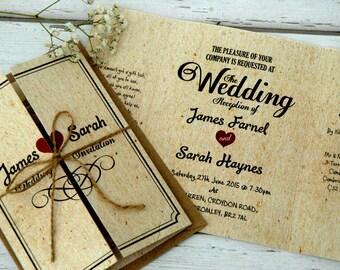 Vintage Wedding Invitations Personalised With Twine & Brown Kraft Envelopes, Free Draft Available