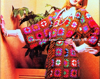 Crochet Vintage-Inspired 1970s Granny Squares Happi Happy Coat - Made to Order 20% Discount