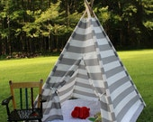 Gray and White Stripe Teepee, Kid's Play Tent, Fort, Child's Foldaway Teepee with Wood Poles