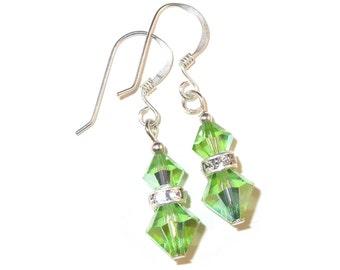 PERIDOT GREEN Crystal Earrings Sterling Silver Dangle Swarovski Elements - Clip-on or Pierced
