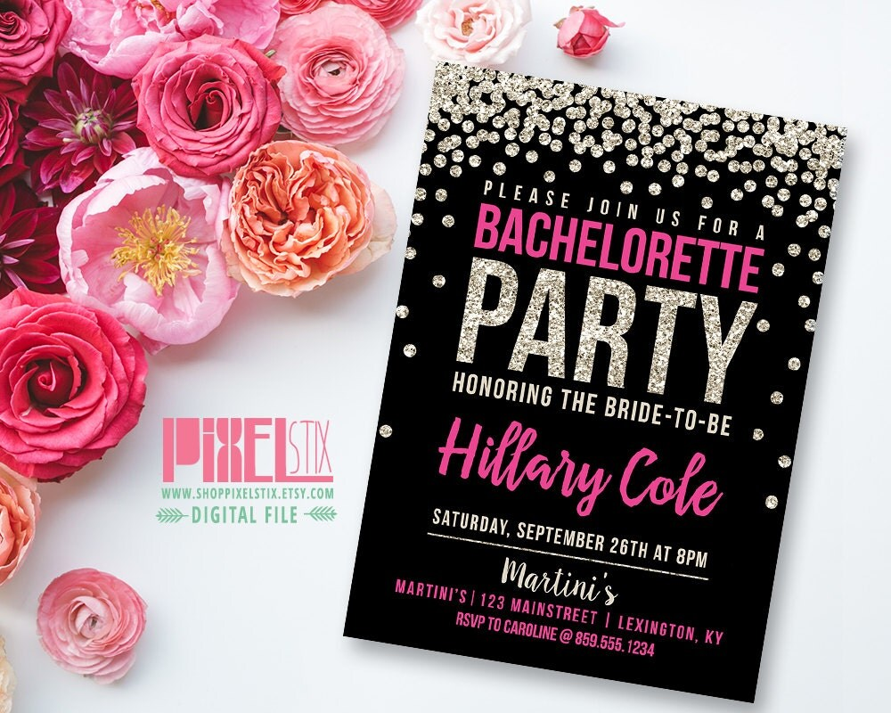 gold glitter bachelorette party invitation pink by