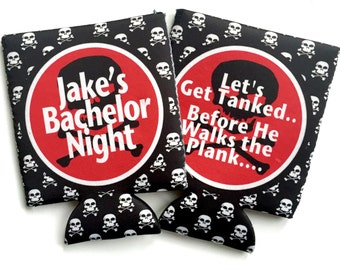 Scull and Crossbones Coolies. Guy's Pirate Birthday Huggers! Pirate Bachelor Party Gifts. Pirate Party favors. Pirate Bachelor Party Huggers