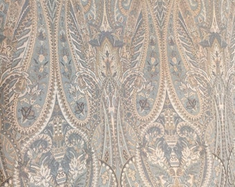 Blue, Beige, And Cream Paisley Upholstery Fabric