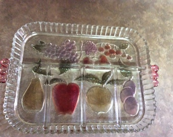 Very Lovely Clear Glass Relish Serving Tray/Platter with Cut Glass Colorful Fruit in the glass Pattern and Has Five Divided Sections.